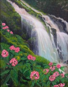 Waterfalls Paintings - Double Waterfall by Mary Deal