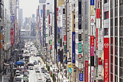 Traffic Prints - Downtown Business District in Japan Print by Jeremy Woodhouse