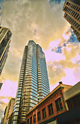 Glass Buildings Framed Prints - Downtown Honolulu Framed Print by Cheryl Young