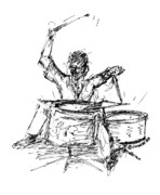 Drummer Drawings Metal Prints - Drummer Metal Print by Sam Chinkes