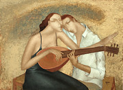 Music. Love Framed Prints - Duet Framed Print by Nicolay  Reznichenko