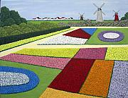 Colorful Floral Gardens Paintings - Dutch Gardens by Frederic Kohli