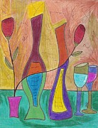 Wine Drawings - 2 Each by Ray Ratzlaff