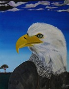 Eagle Paintings - Eagle At Dusk by Paul F Labarbera