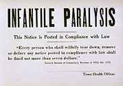Infantile Paralysis Photos - Early 20th Century Quarantine Sign by Everett