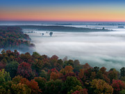 Richelieu Prints - Early Autumn Morning Fog on The Richelieu River Valley Quebec Ca Print by Laurent Lucuix