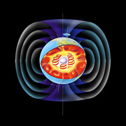 Whole Field Posters - Earths Magnetic Field Poster by Gary Hincks