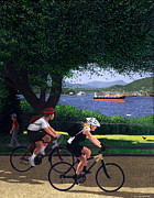 Burrard Inlet Posters - East Van Bike Ride Poster by Neil Woodward
