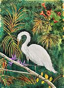 Egret Painting Originals - Egret by Dawn  Johansen