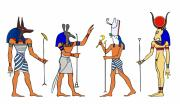 Tourism Drawings Prints - Egyptian Gods and Goddess Print by Michal Boubin