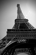 Black And White Paris Posters - Eiffel Tower Under The Spotlight Poster by Kamil Swiatek