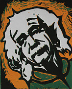 Linocut Linoluem Prints - Einstein 2 Print by William Cauthern