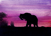 Ink Drawing Painting Framed Prints - Elephant at Dusk - Silhouette Framed Print by Michael Vigliotti