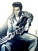 Jose Roldan Rendon Framed Prints - Elvis Framed Print by Jose Roldan Rendon
