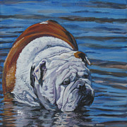 Blue Water Painting Framed Prints - English Bulldog Framed Print by Lee Ann Shepard