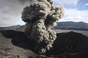 Volcanic Activity Framed Prints - Eruption Of Ash Cloud From Crater Framed Print by Richard Roscoe