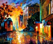 Canal Street Paintings - Evening by Leonid Afremov