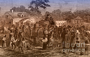 Confederates Framed Prints - Exodus Of Confederates From Atlanta Framed Print by Photo Researchers