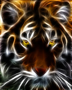 Lion Digital Art Metal Prints - Eye of The Tiger Metal Print by Wingsdomain Art and Photography