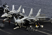 Us Open Framed Prints - F-14d Tomcats On The Flight Deck Of Uss Framed Print by Gert Kromhout