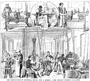 Conveyor Belt Framed Prints - Factory Interior, 1880 Framed Print by Granger