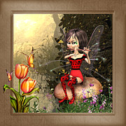 Fairy Art For Sale Framed Prints - Fairy playing the flute Framed Print by John Junek