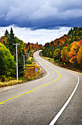 Storm Acrylic Prints - Fall highway Acrylic Print by Elena Elisseeva