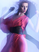 Glass Wall Prints - Fashion Photo of a Woman in Shining Blue Settings Print by Oleksiy Maksymenko
