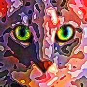 Kitty Digital Art Metal Prints - Feline Face Abstract Metal Print by David G Paul