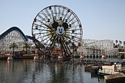 California Adventure Framed Prints - Ferris Wheel and Roller Coaster - Paradise Pier - Disney California Adventure - Anaheim California - Framed Print by Wingsdomain Art and Photography