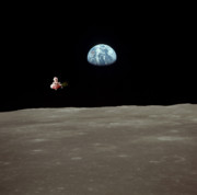 Canine Posters Photos - Fifi goes to the moon by Michael Ledray