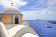 Outlook Photo Posters - Fira - Santorini Poster by Joana Kruse