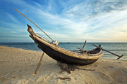 Vietnamese Framed Prints - Fisherman boat Framed Print by MotHaiBaPhoto Prints