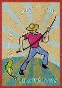 Catching Digital Art Acrylic Prints - Fisherman catching fish Acrylic Print by Aloysius Patrimonio