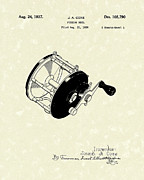 Sports Art Drawings Posters - Fishing Reel 1937 Patent Art Poster by Prior Art Design