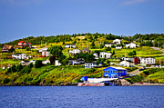 Town Pier Photos - Fishing village in Newfoundland by Elena Elisseeva