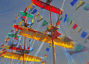 Pirate Ships Digital Art Posters - Flags of Gasparilla Poster by David Lee Thompson