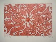 Texture Flower Drawings Posters - Floral Rug Poster by Kathryn Fleming