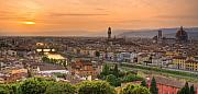 Arno River Prints - Florence Sunset Print by Mick Burkey