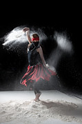 Red Dress Posters - Flour Dancer Series Poster by Cindy Singleton