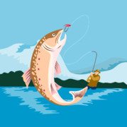 Speckled Trout Digital Art Posters - Fly fisherman catching trout Poster by Aloysius Patrimonio