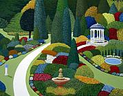 Colorful Floral Gardens Paintings - Formal gardens by Frederic Kohli
