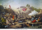 Confederate Flag Framed Prints - Fort Pillow Massacre, 1864 Framed Print by Granger