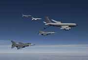 Jets Framed Prints - Four F-16s And A Kc-135 Fly Framed Print by HIGH-G Productions