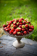 Wood Pile Prints - Fresh strawberries Print by Kati Molin