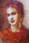 Gold Foil Prints Framed Prints - Frida  Framed Print by Juan Jose Espinoza