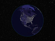 Planet Map Prints - Full Earth At Night Showing City Lights Print by Stocktrek Images