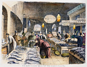 Lobster Sign Posters - Fulton Fish Market, 1869 Poster by Granger