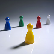 Board Game Photos - Game pieces in various colours by Bernard Jaubert