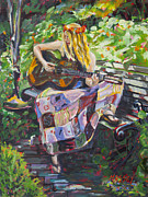 Hippie Painting Prints - Garden Serenade Print by Marie Massey
